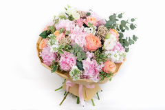 Pink bouquet of Roses, Hydrangea and eucalyptus Royalty Free Stock Images