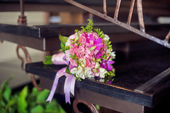 Pink Bouquet on the stairs Royalty Free Stock Images