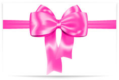 Pink bow. Beautiful pink bow with ribbon. Gift card. Vector illustration Royalty Free Stock Photography