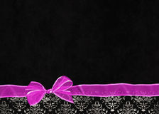 Pink bow on damask border Stock Photos