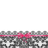 Pink bow on lace background Royalty Free Stock Images