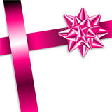Pink bow on a pink ribbon Royalty Free Stock Photos