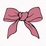 Pink bow. Stylized vector element. For design Royalty Free Stock Image