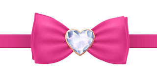Pink bow tie with heart diamond brooch. Royalty Free Stock Photo