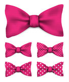 Pink bow tie with white dots realistic vector illustration set. Isolated on white background Royalty Free Stock Photo