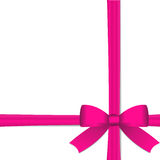 Pink bow. Vector - Gift with pink ribbon against  white background with copy space Stock Photo
