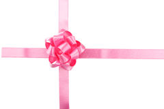 Pink bow on white background, close up Royalty Free Stock Image