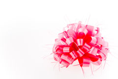 Pink bow on white background. Royalty Free Stock Photos