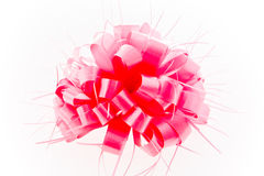 Pink bow on white background. Royalty Free Stock Photography