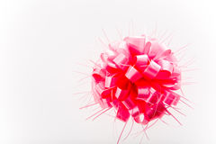 Pink bow on white background. Royalty Free Stock Image