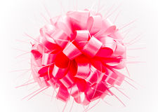 Pink bow on white background. Royalty Free Stock Images
