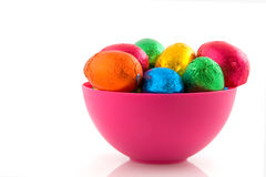 Pink bowl easter eggs Royalty Free Stock Images