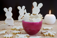 Pink bowle with biscuits Stock Photos