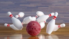Bowling ball number 16 smashing pins. Pink Bowling ball laying on a curved floor smashing 10 white bowling pins with two red stripes. Bowling pins flying over royalty free stock image