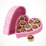 Pink box of chocolates in the form of heart Stock Images