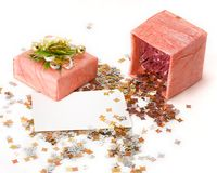 Pink box, confetti and card Royalty Free Stock Images