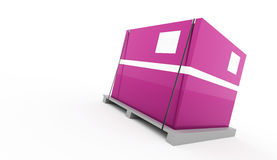 Pink box fixed on palette. On white background vector illustration