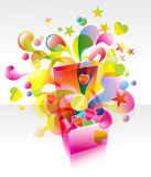 Pink box with great splash. Pink box with great colorful splash, illustration Stock Photography