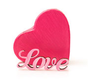 Pink box in heart shape with word love Stock Images