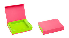 Pink box opened and closed Royalty Free Stock Photography