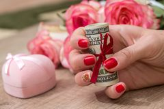Pink box, roses money. Pink box, roses, money on the table Stock Image