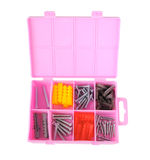 Pink box with screws and dowels Stock Image