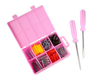Pink box with screws and screwdrivers Royalty Free Stock Images