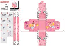 Pink box template with a cupid for Valentine`s Day royalty free illustration