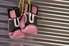 Pink Boxing Gloves Hanging on a Hook Stock Photos