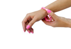 pink bracelet on a hand Royalty Free Stock Photography
