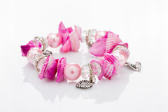 Pink Bracelet With Pendants Royalty Free Stock Images