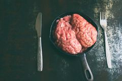 Pink brain before cooking on black metal frying pan. Raw meat. Offal.  stock photography