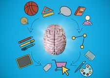 Pink brain with education graphics against blue background Royalty Free Stock Photography