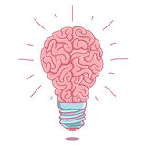 Pink brain in the form of a burning light bulb Royalty Free Stock Image