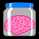 Pink brain in glass jar Royalty Free Stock Images