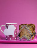 Pink breakfast tray for Mothers Day, birthday or Pink Ribbon charity - vertical with copy space. Stock Photos