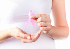 Pink breast cancer awareness ribbon Stock Photo