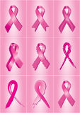 Pink breast cancer awareness ribbons Royalty Free Stock Images