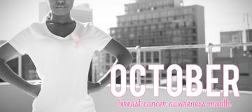 Composite image of pink breast cancer awareness text stock photography