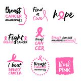Pink breast cancer awareness typography quote set Stock Image