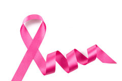 Pink breast cancer ribbon isolated Stock Image