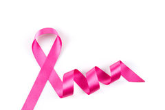 Pink breast cancer ribbon isolated Royalty Free Stock Images
