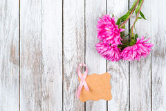 Pink breast cancer ribbon and pink flowers on wooden background. Royalty Free Stock Images