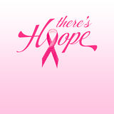 Pink Breast Cancer Ribbon with word Hope. Pink Breast Cancer Ribbon with copy space and concept words there is hope Stock Photos