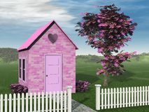 Pink Brick Cottage Royalty Free Stock Photos