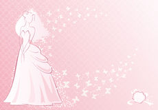 Pink bride. Vector illustration of bride and her bouquet Royalty Free Stock Photos