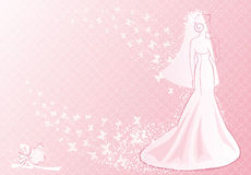 Pink bride. Vector illustration of bride and her bouquet Royalty Free Stock Photography
