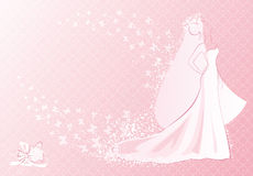 Pink bride. Vector illustration of bride and her bouquet Royalty Free Stock Image