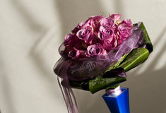 Pink bride bouquet in blue vase Royalty Free Stock Images