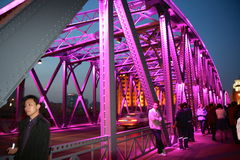 Pink bridge Royalty Free Stock Images